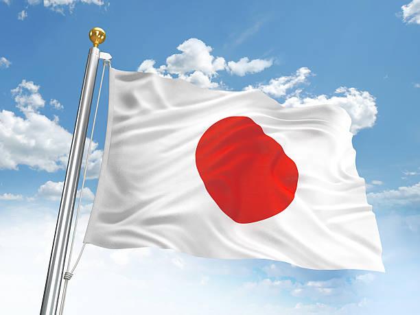 Agitando bandera de Japón - foto de stock