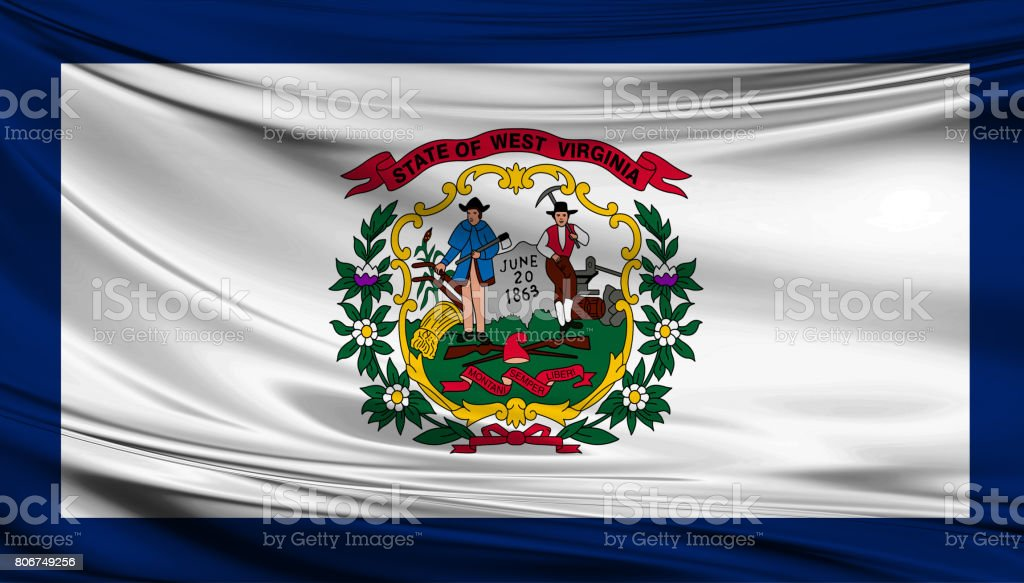 Waving Kansas State flag stock photo