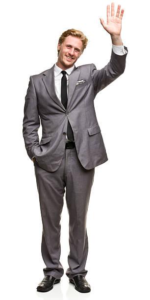 Waving Man in Suit stock photo