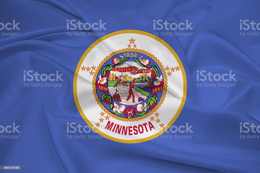 Waving Minnesota State Flag stock photo