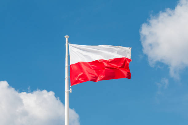 Waving national flag of Poland on a flagpole, national colors of Poland. – zdjęcie