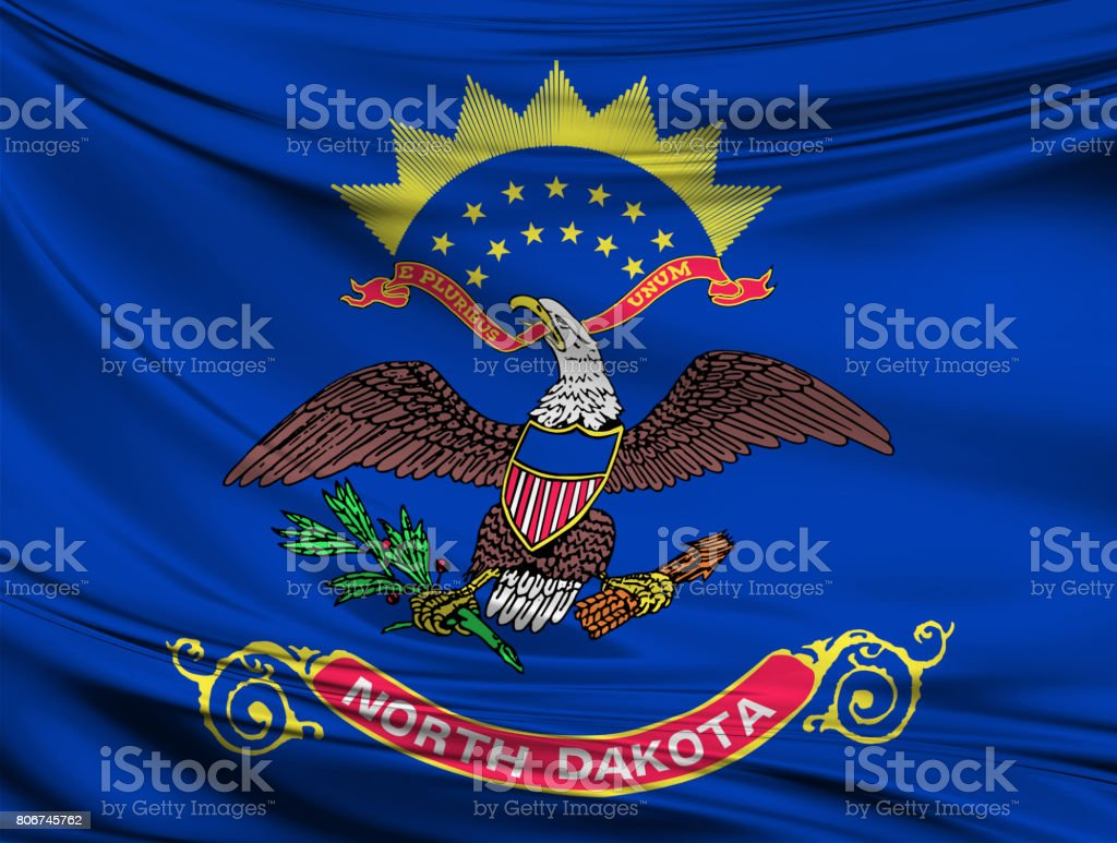 Waving North Dakota State flag stock photo