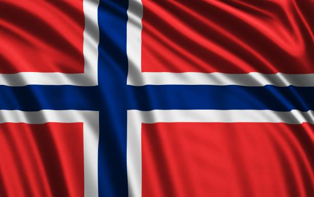norwegische flagge winken - norwegen fahne stock-fotos und bilder