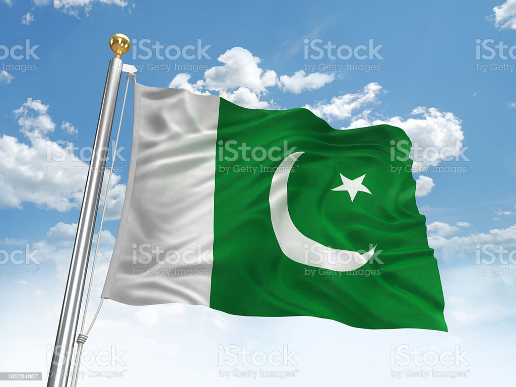 Waving Pakistan flag stock photo