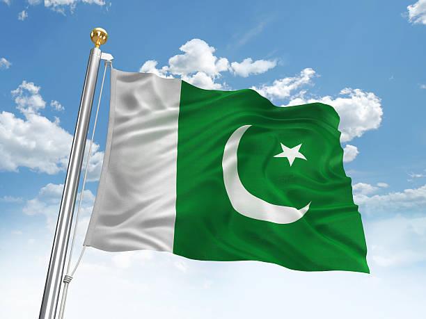 waving pakistan flag - pakistani flag stock photos and pictures