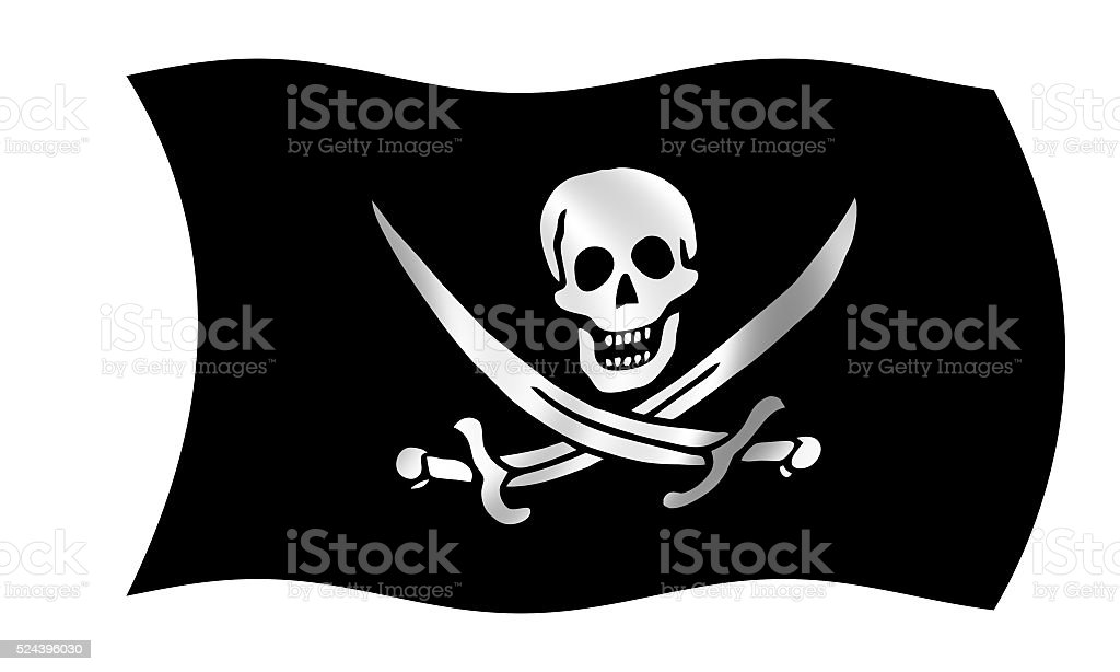 Bandera pirata en meciéndose al viento - foto de stock