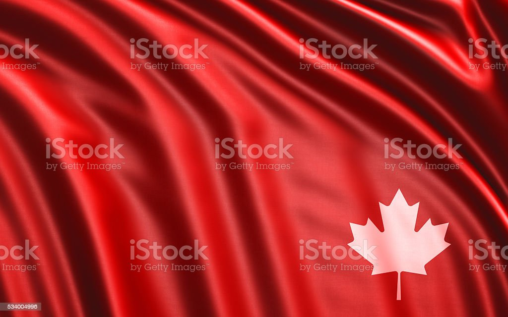 Waving Red Fabric With Maple Leaf Print stock photo
