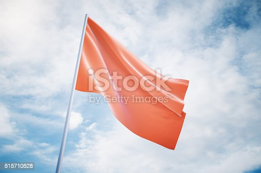 istock Waving red flag on a sky background, mock up 515710528