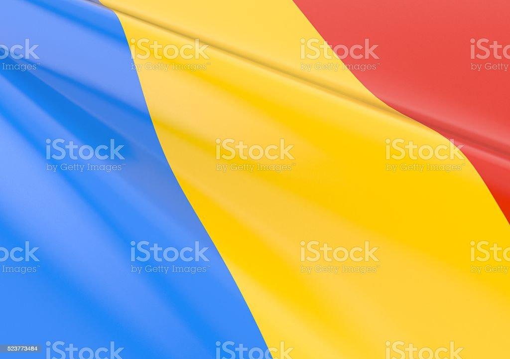 Waving romanian flag stock photo
