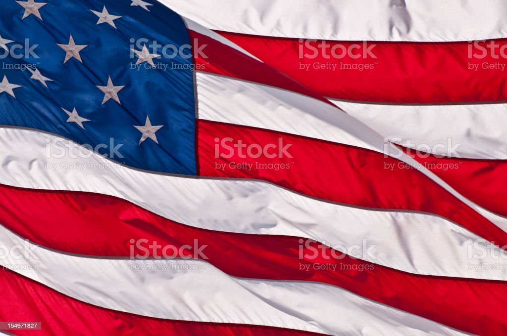 Waving Silk American Flag Close up stock photo