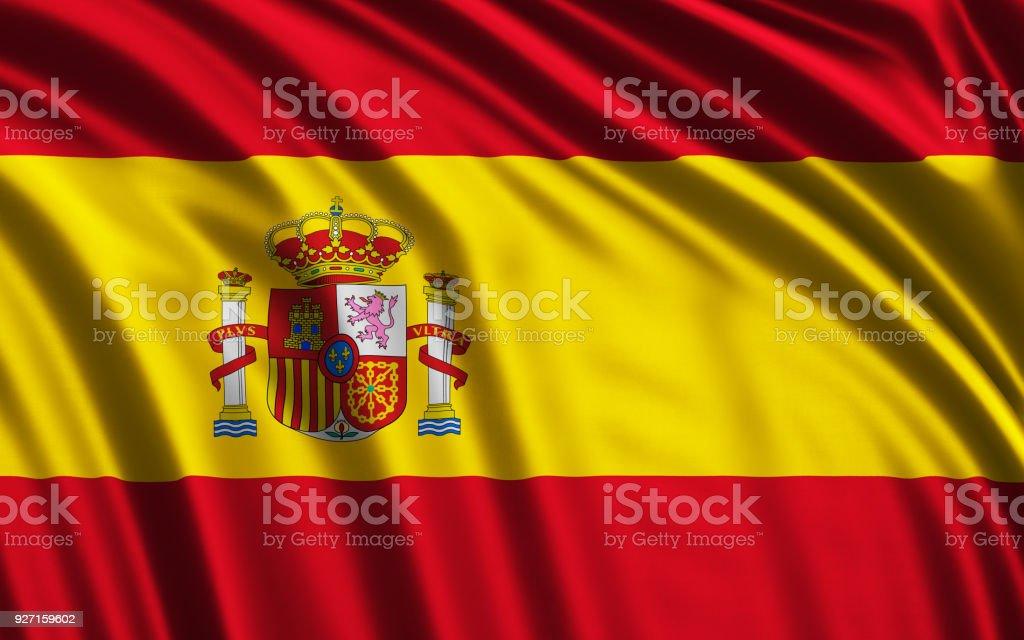 Acenando a bandeira espanhola - foto de acervo