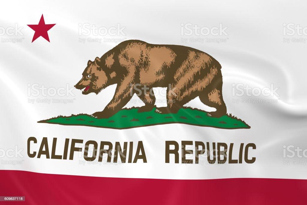 Waving State Flag of California stock photo