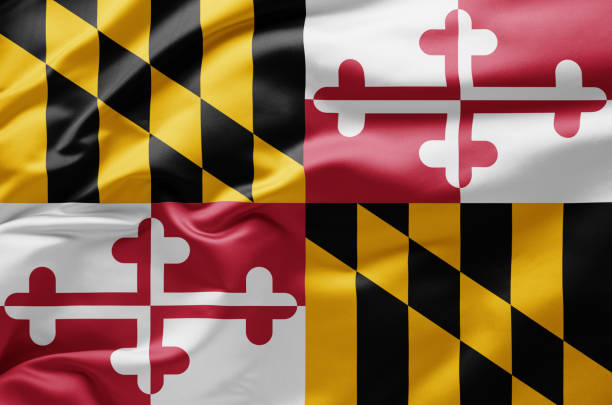 Waving state flag of Maryland - United States of America Waving state flag of Maryland - United States of America maryland us state stock pictures, royalty-free photos & images