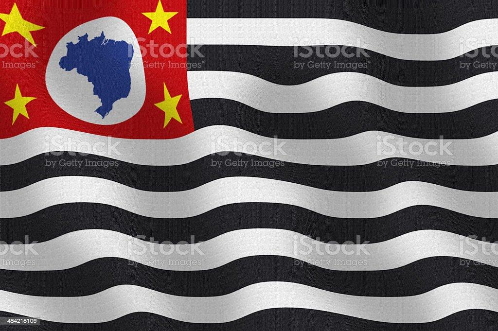 Waving State Flag of Sao Paulo Brazil Series stock photo