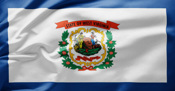 Waving state flag of West Virginia - United States of America Waving state flag of West Virginia - United States of America west virginia us state stock pictures, royalty-free photos & images