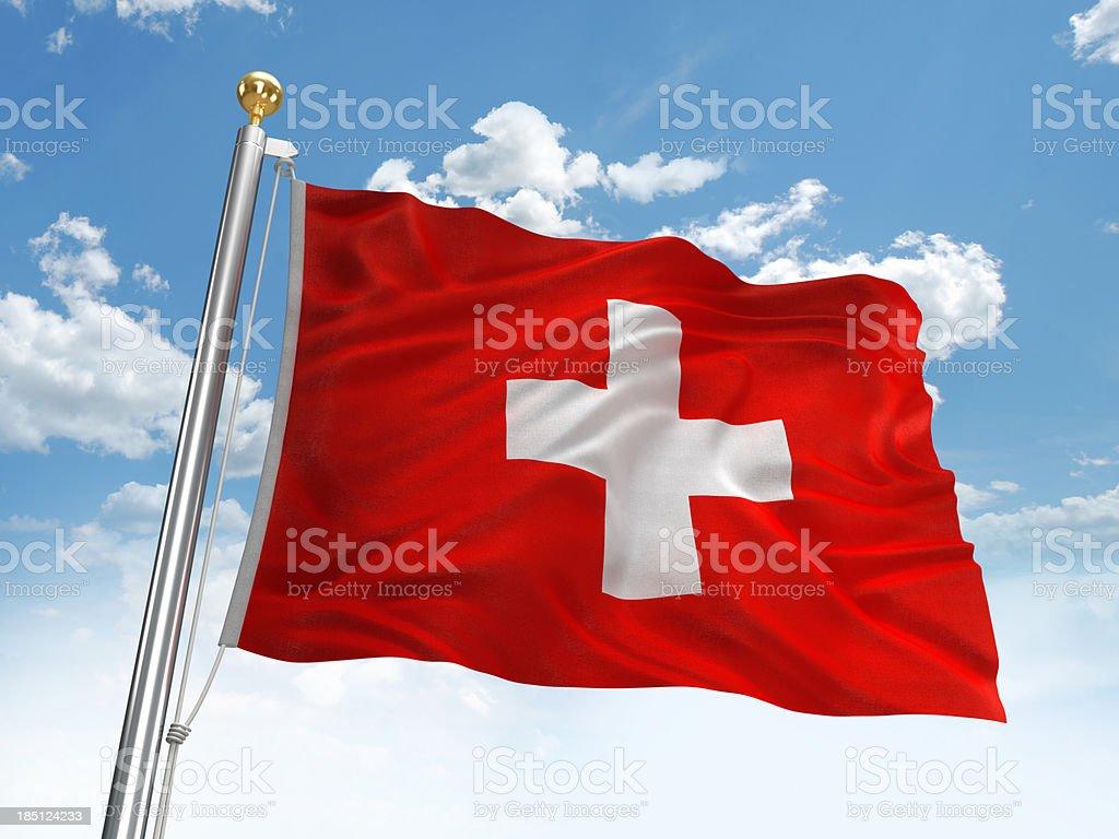 Waving Switzerland flag royalty-free stock photo
