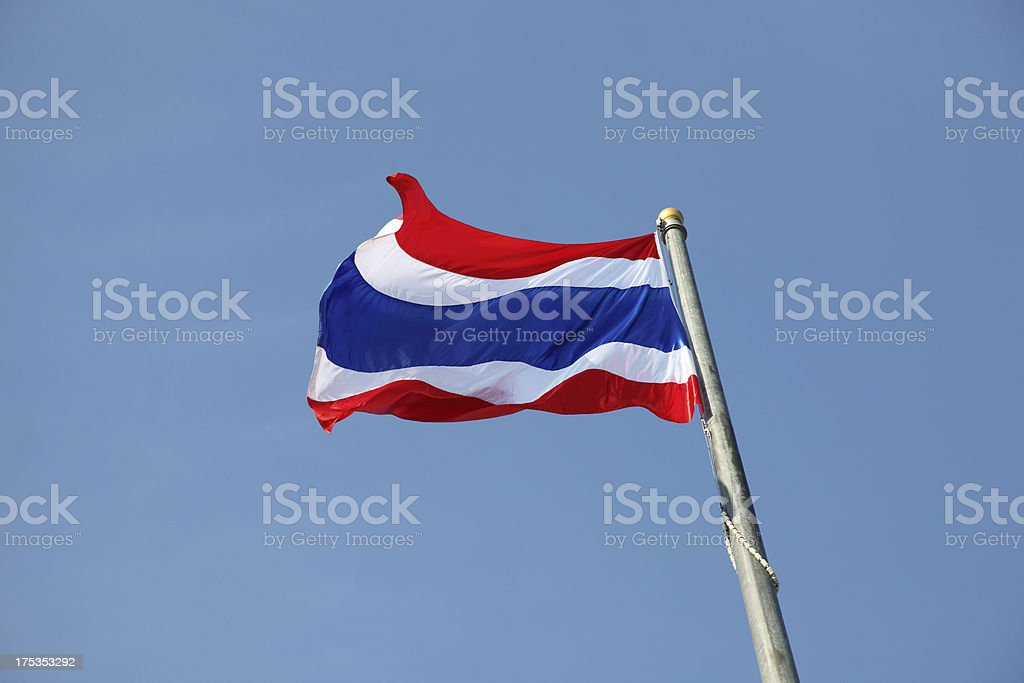 Waving Thai national flag with blue sky background royalty-free stock photo
