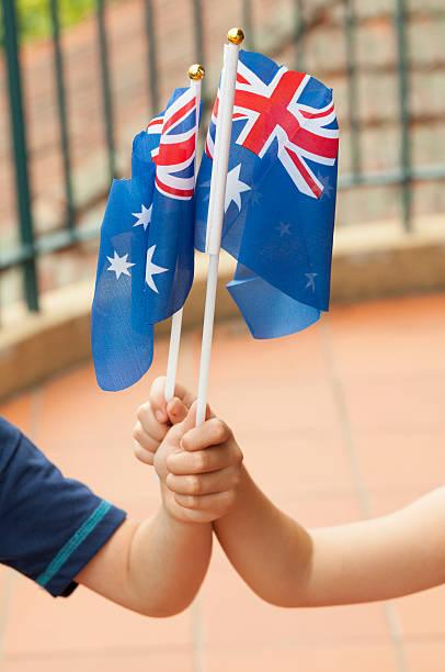 Waving the Australian flag stock photo