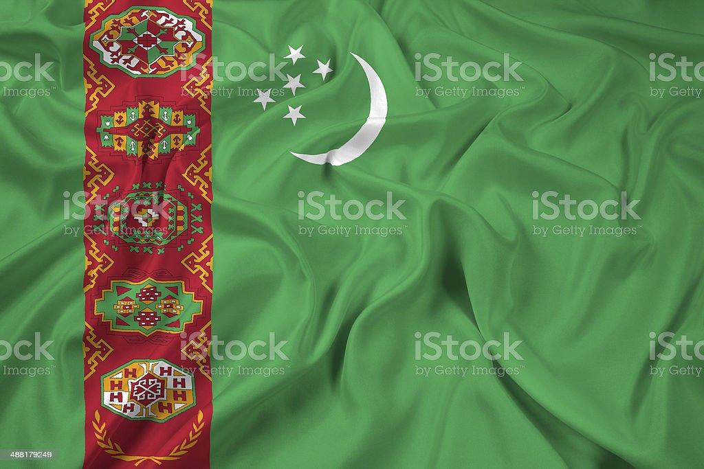 Waving Turkmenistan Flag stock photo
