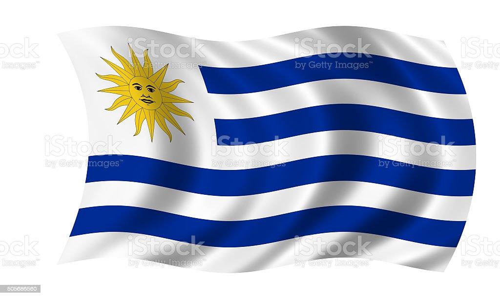 Bandera de viento agitando uruguayo - foto de stock