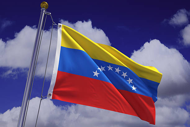 waving venezuelan flag - venezuelan flag stock photos and pictures