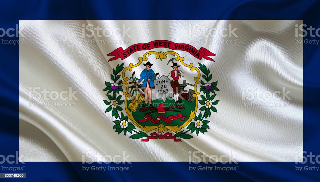 Waving West Virginia State flag stock photo