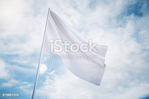 istock Waving white flag on a sky background, mock up 515851310
