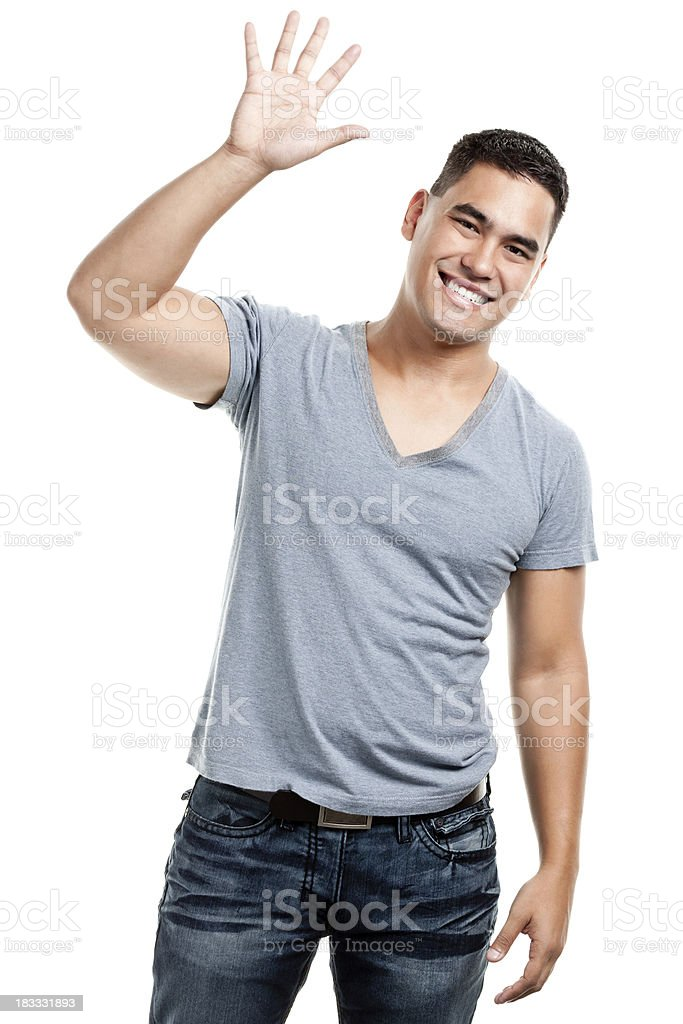 Waving Young Man stock photo