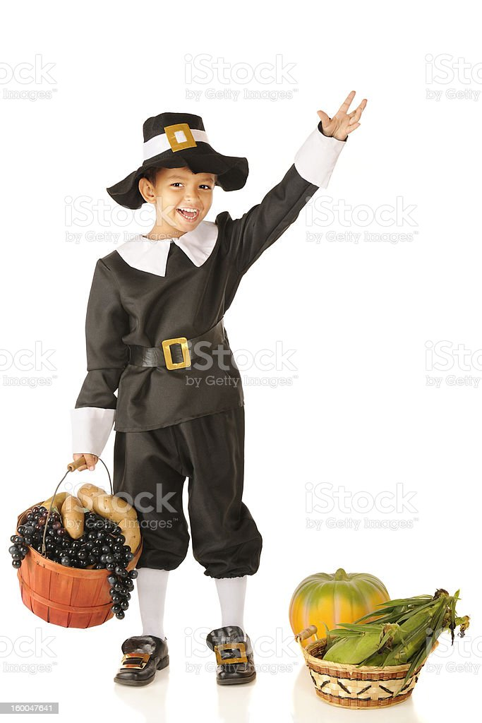 Waving Young Pilgrim stock photo