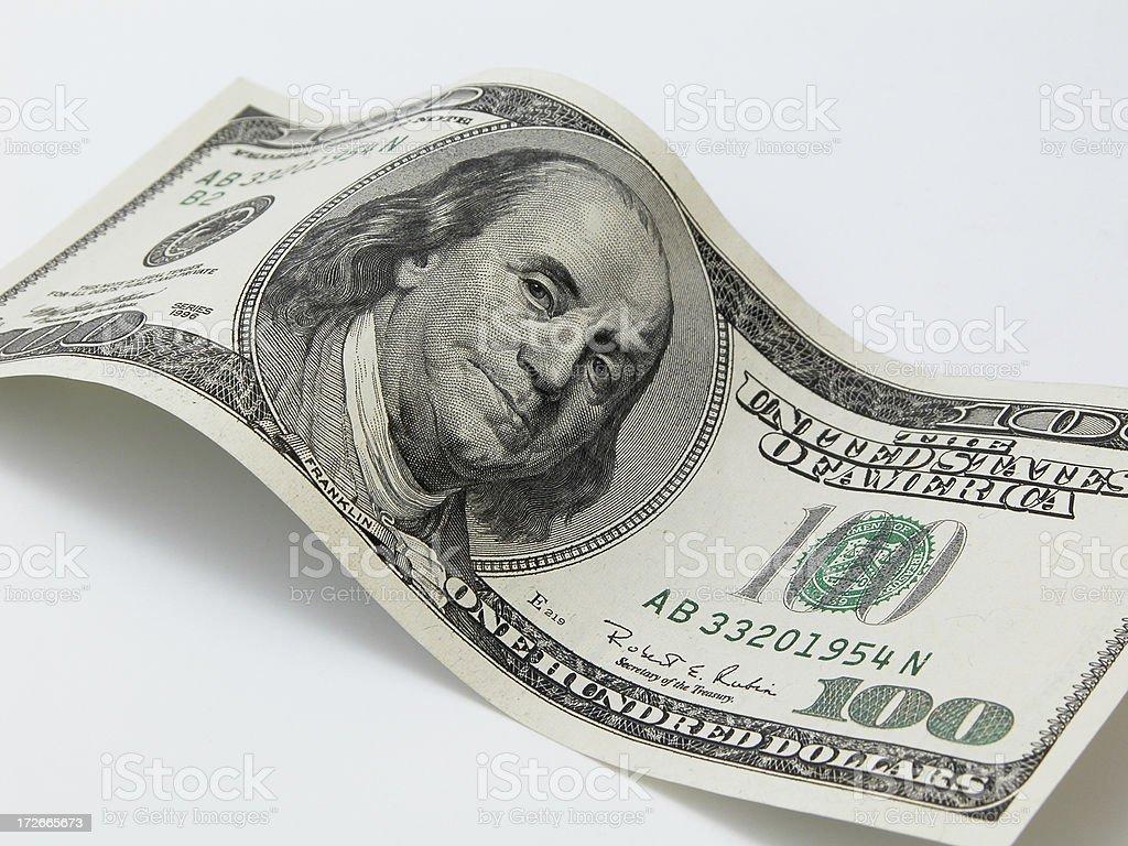 Wavy 100 Dollar Bill royalty-free stock photo