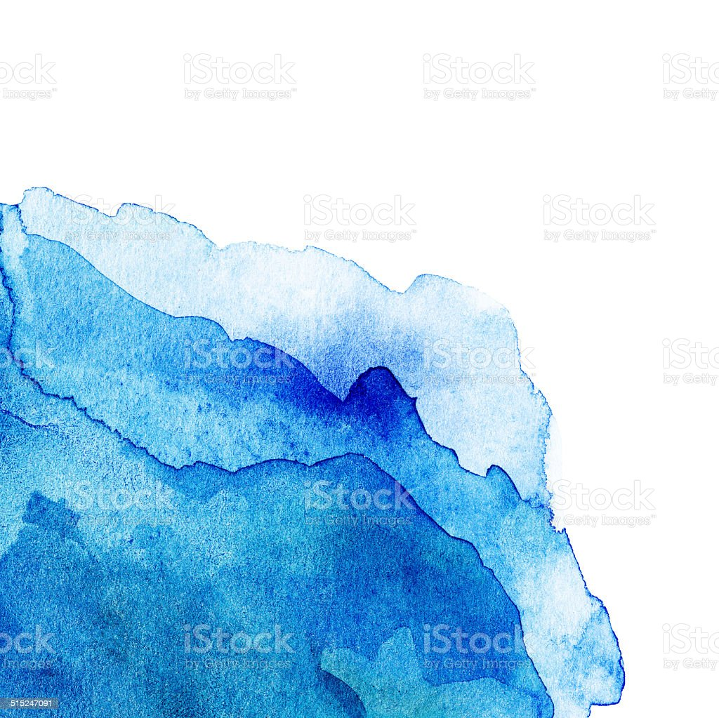 Wavy Abstract light blue watercolor background isolated on white stock photo