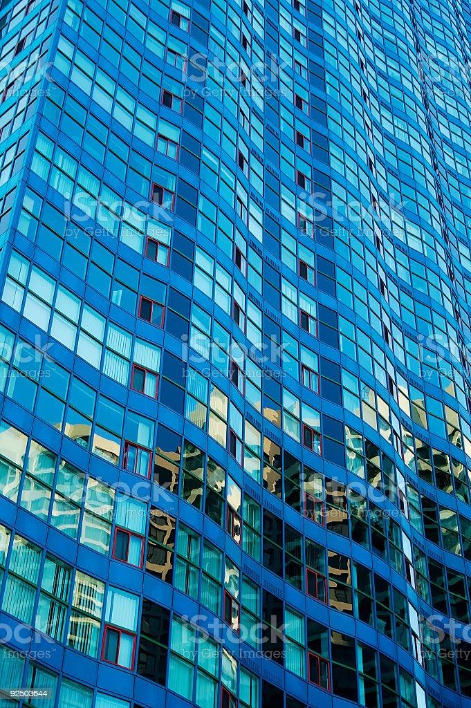 Wavy Blue Building royalty-free stock photo