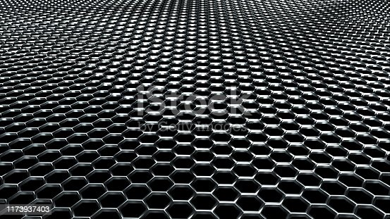 859156600istockphoto Wavy metal net made of shiny silver hexagons. Computer generated modern background, 3D rendering 1173937403