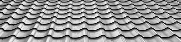 wavy metallic gray tiles stock photo