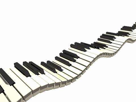Wavy piano keyboard - detailed 3d renderSee more music images:-