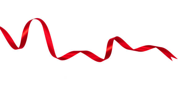 wavy red ribbon isolated on white background. - ribbon zdjęcia i obrazy z banku zdjęć