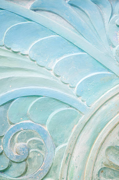 Wavy Stonework Art Deco Pattern Close-Up stock photo