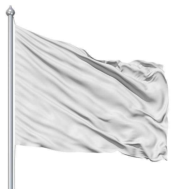 Wavy white textile flag on flagpole Wavy white textile background with rippled effect flagpole stock pictures, royalty-free photos & images