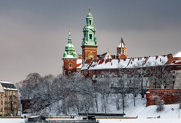 Wawel Cathedral Towers in Cracow, Poland stock photo