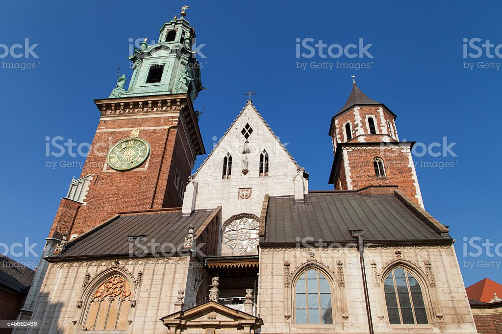 Wawel Clock Tower and Silver Bell Tower stock photo