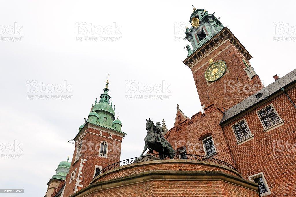 Wawel clock tower Tadeusz Kosciuszko monument stock photo
