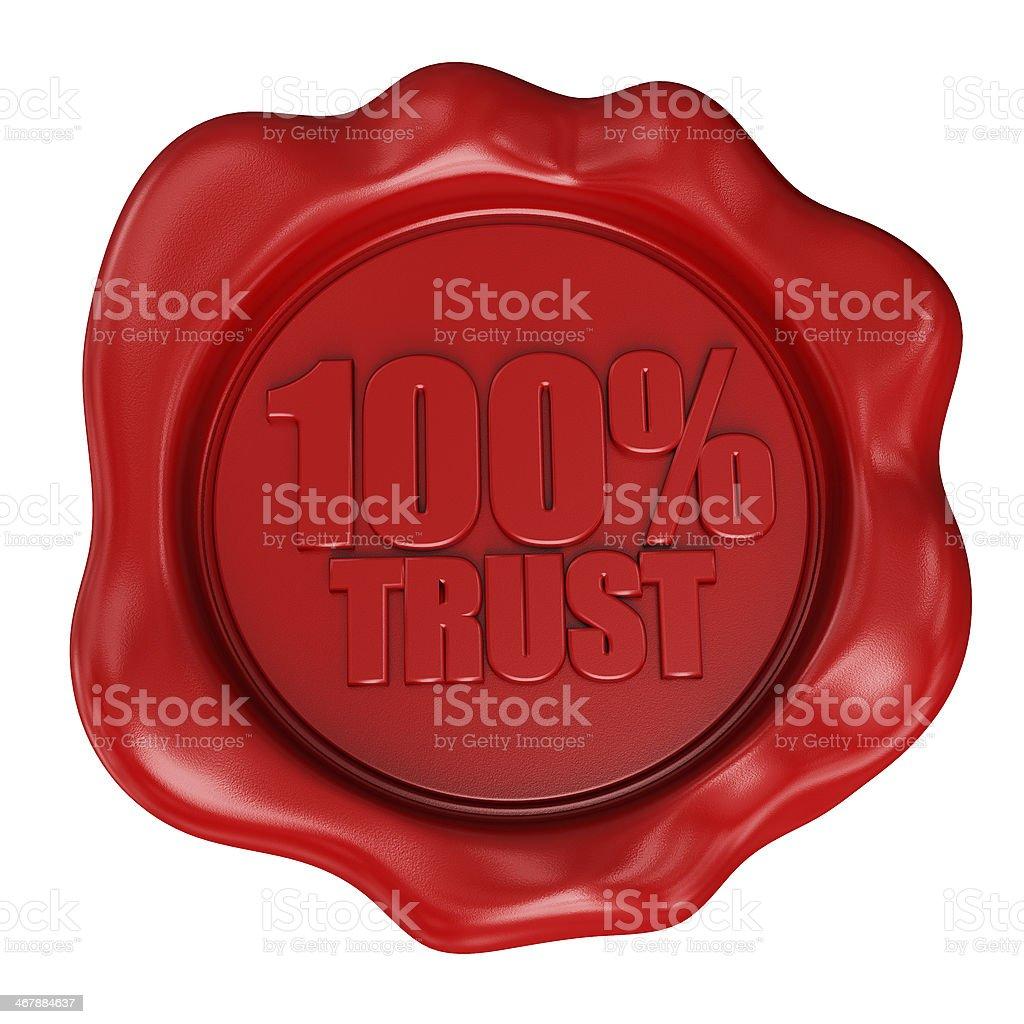 Wax Seal 100% TRUST stock photo