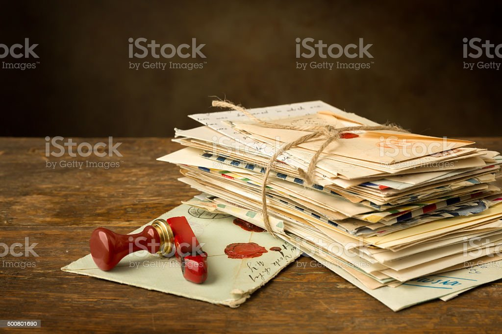 Wax seal and old letters stock photo