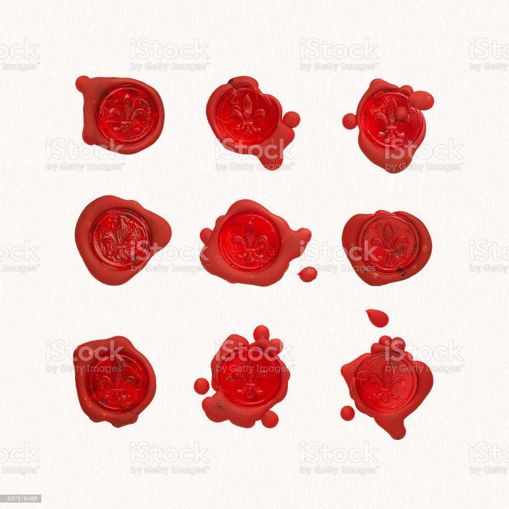 Wax seals with fleur de lis stock photo