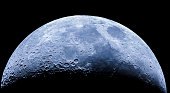 istock Waxing crescent moon as seeing from the southern hemisphere. Amazing the moon rough surface full of craters from meteorites coming from the universe and crashing our satellite the Moon an awe relief 1162213234