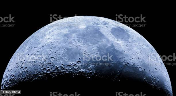 Photo of Waxing crescent moon as seeing from the southern hemisphere. Amazing the moon rough surface full of craters from meteorites coming from the universe and crashing our satellite the Moon an awe relief