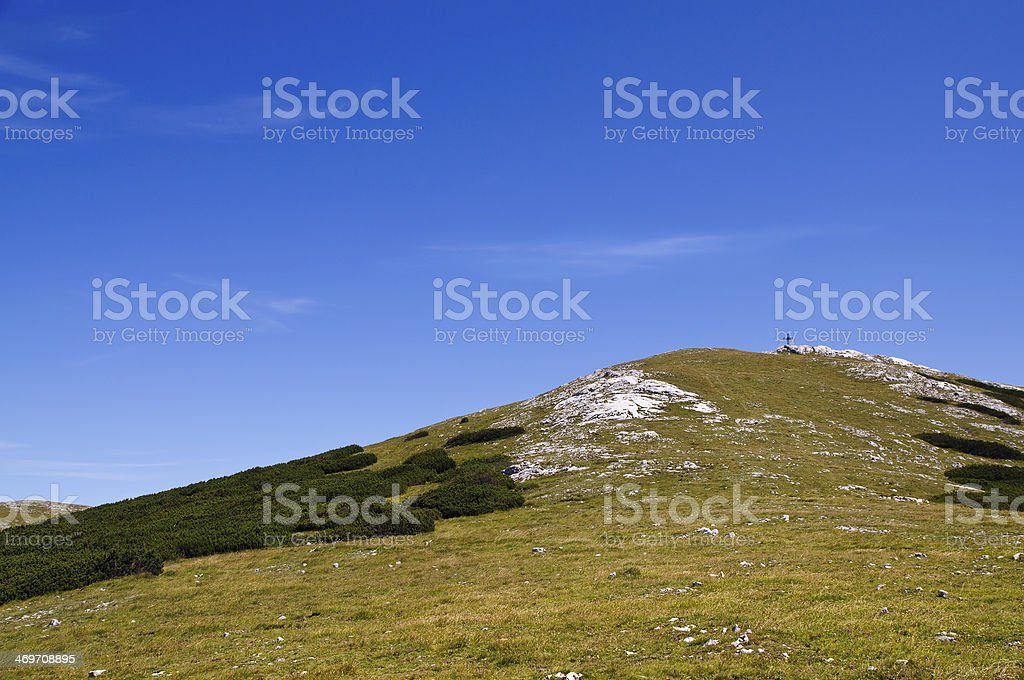 Waxriegel with summit cross, Schneeberg in summertime, Lower Austria stock photo