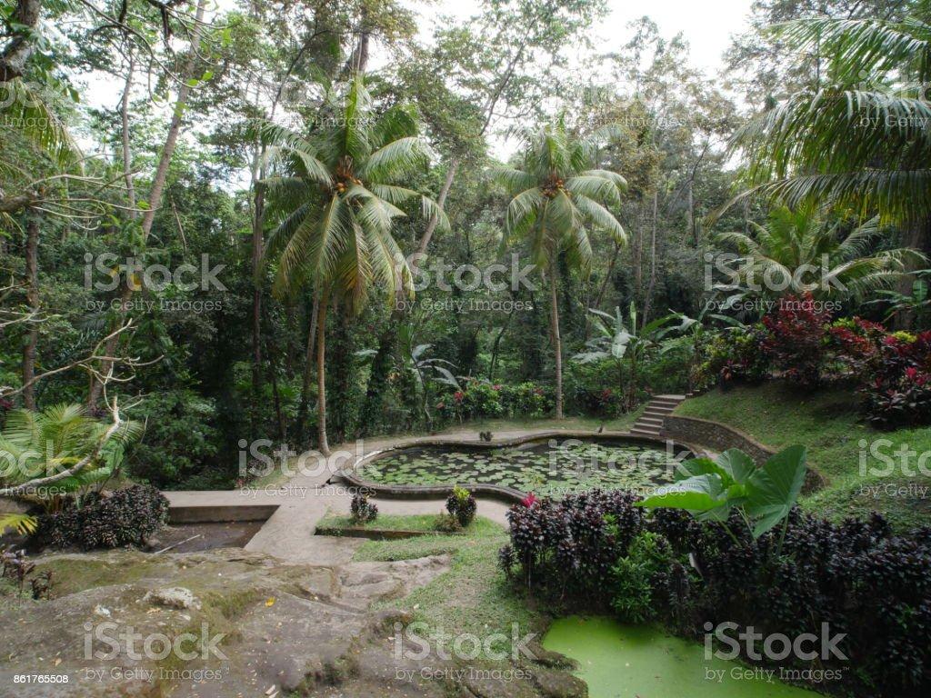 Way back to Hindu temples at Goa Gajah, Bali stock photo