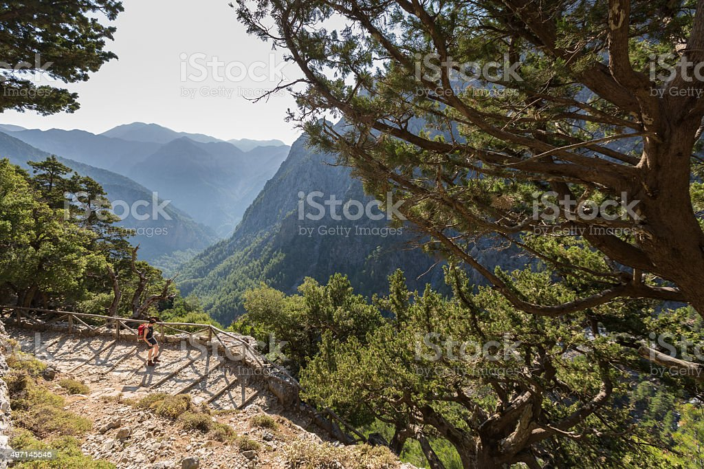 Way down into Samaria Gorge, Crete. stock photo