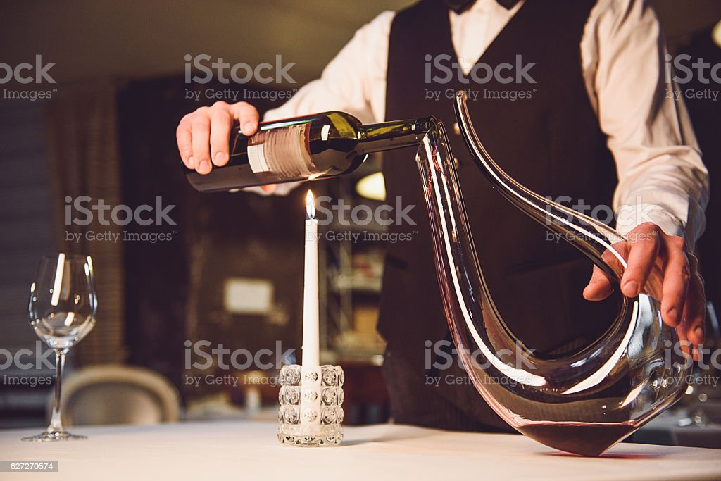 Way of serving scarlet wine stock photo